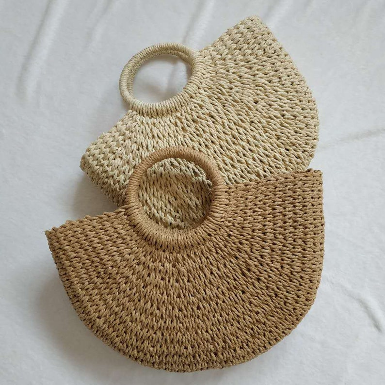 Rustic semi-circular straw summer beach bag