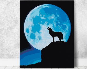 Classical Night Moon Cartoon Paint By Numbers Kits For Adults DIY Painting Tools