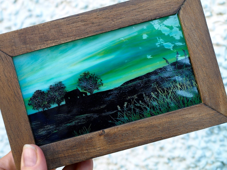 Handpainted Stained Glass Art Block: Northern Light image 0
