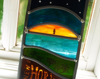 New Horizons Hand-Painted Stained Glass Panel