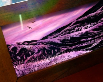 Hand-Painted Stained Glass Panoramic Landscape Block