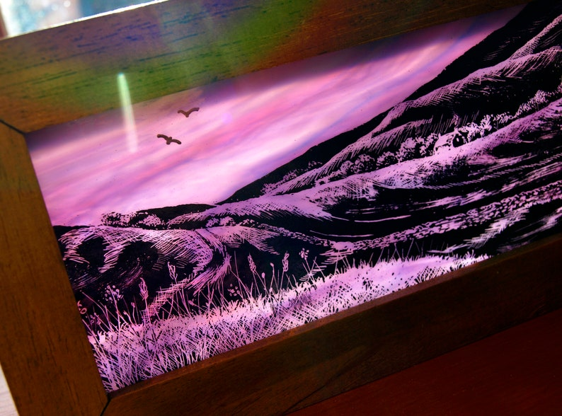 Hand-Painted Stained Glass Panoramic Landscape Block image 0