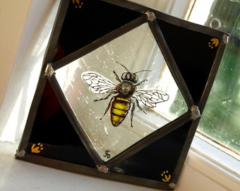 Hand-Painted Stained Glass Manchester Worker Bee Panel