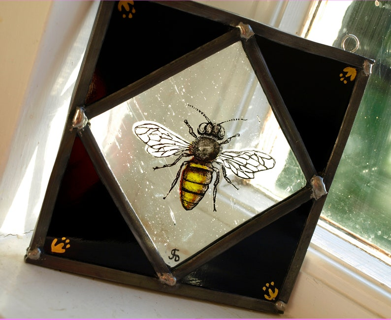 Hand-Painted Stained Glass Manchester Worker Bee Panel image 0