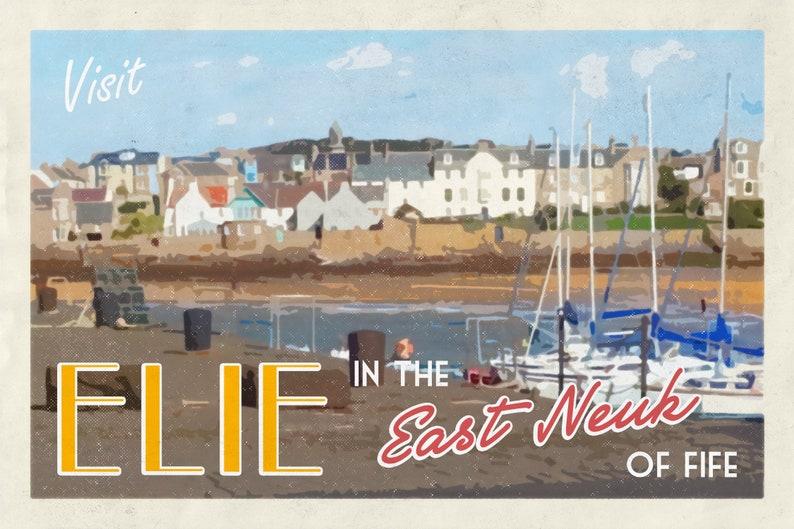 Vintage Style Travel Poster for Elie Harbour Scotland image 0