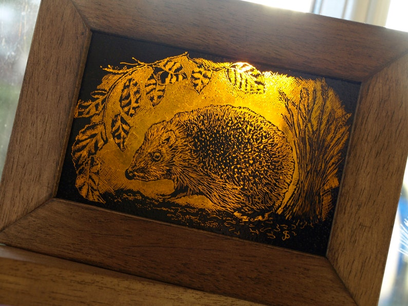 Hand-Painted Stained Glass Hedgehog Art Block image 0