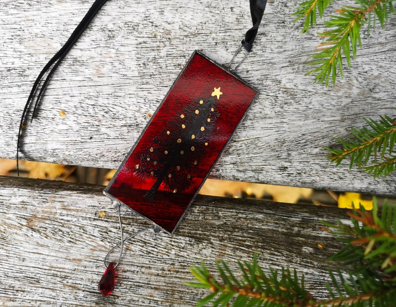 Hand Painted Stained Glass Christmas Tree Ornament image 0