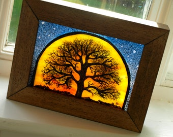 Hand-Painted Tree of Life Stained Glass Art Block