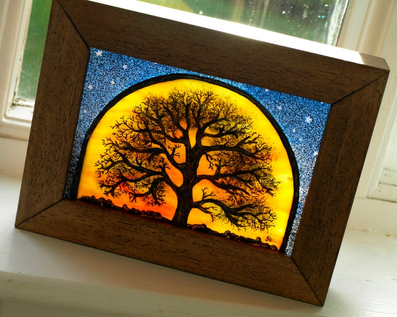 Hand-Painted Tree of Life Stained Glass Art Block image 0