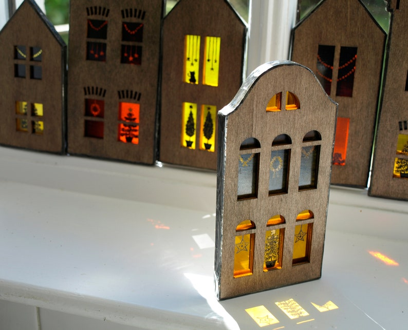 Medium Stained Glass Christmas Townhouse Suncatcher  Arched image 0