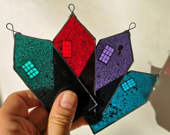 Hand-Painted Stained Glass House Ornament