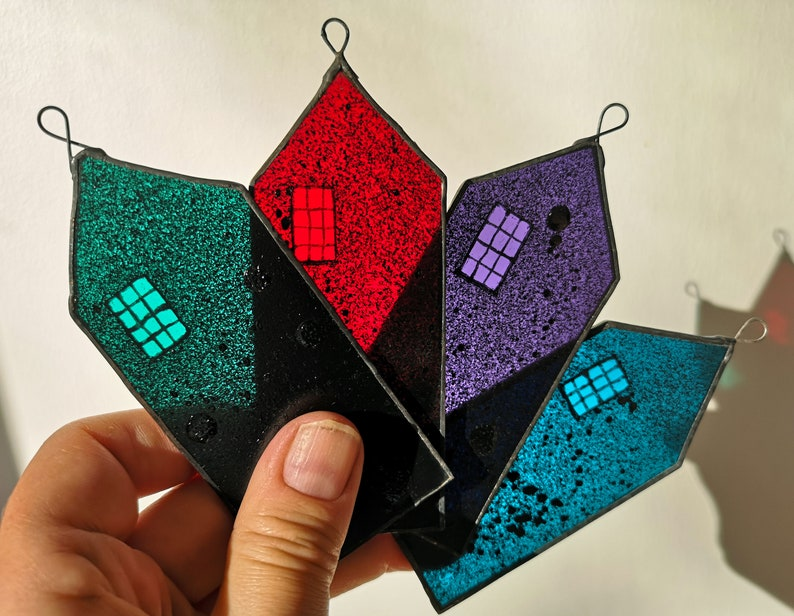 Hand-Painted Stained Glass House Ornament image 0