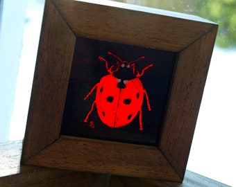 Hand-Painted Stained Glass Ladybird Art Block