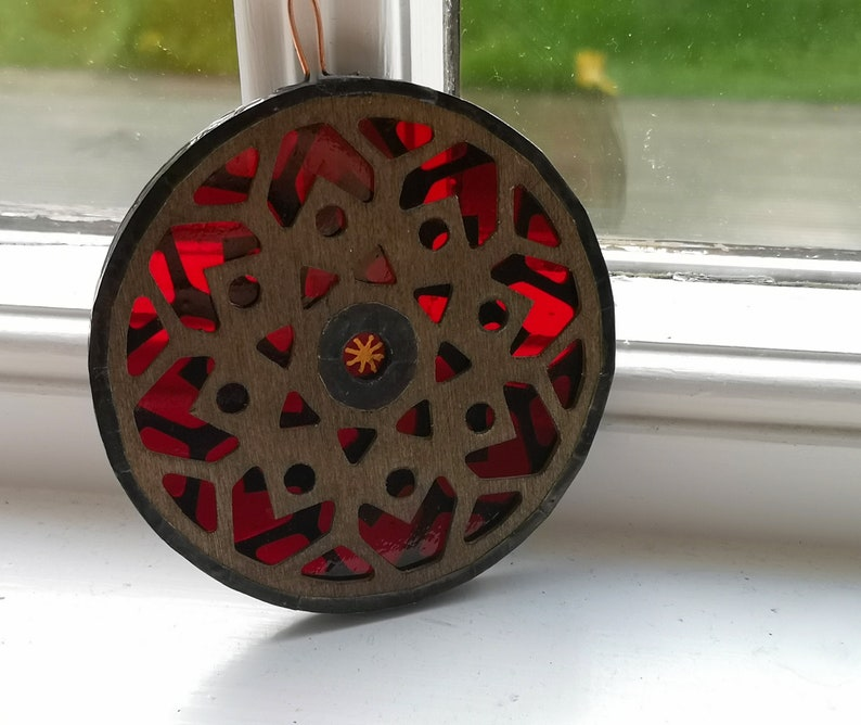 Ruby Red Stained Glass Mandala Ornament image 0