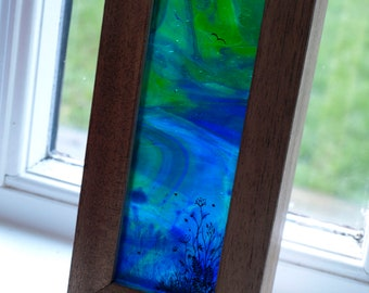 Tall Stained Glass Landscape Diorama - Hand-Painted layered glass suncatcher