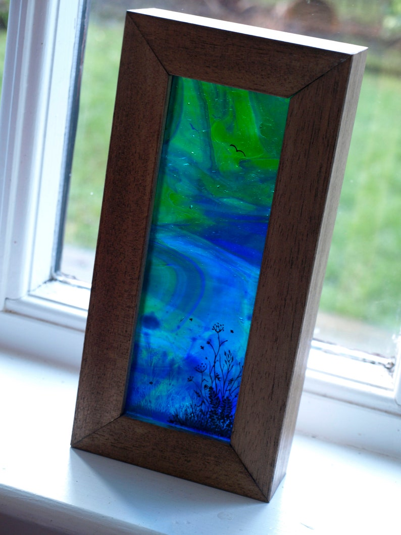 Tall Stained Glass Landscape Diorama  Hand-Painted layered image 0