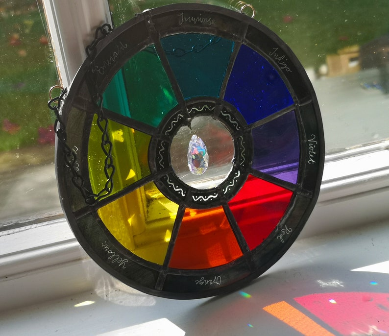 Large Hand-painted Stained Glass Colour Wheel image 0