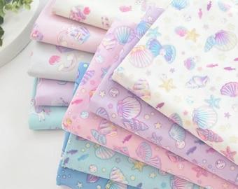 The Paper Sheep - Fantastic Seashells Star Pearl Pattern Fabrics from Japan   Pastel Shine Colour Pattern Fabrics   DIY Cloth Cotton