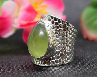 Handmade Ring Statement Ring Birthstone Ring Adjustable Ring Prehnite Size 7 +US Silver Ring Big Silver Band Ring,Cabochon Ring