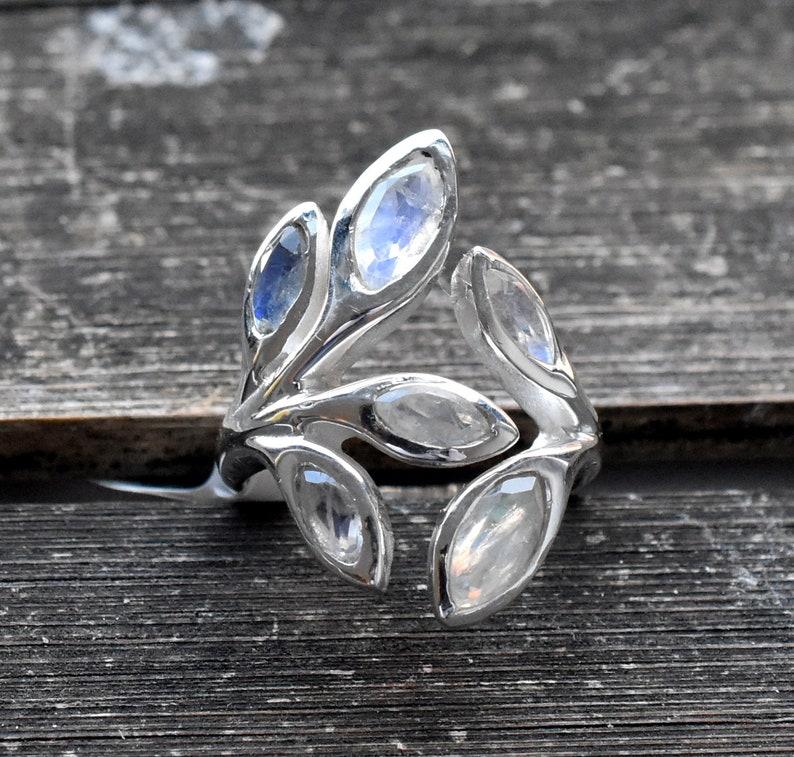 Birthstone Ring Christmas gift Statement Ring Fashion Ring RAINBOW MOONSTONE 6.5 US Sterling Silver Ring Handmade Ring Adjustable ring