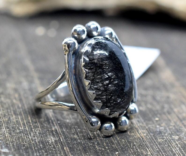 Handmade Ring Woman Ring,Gift Ring Statement Ring Black rutile Size 9 US Sterling Silver Ring Birthstone Ring Code HR9 Fashion Ring