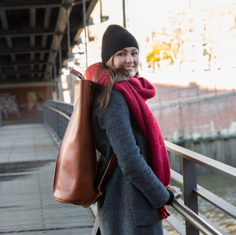 leather SALE 70/% Tom Oversize backpack brown retro deer Hamburg