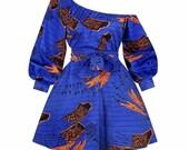 Bimps African one shoulder short dress, African wax