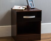 Hulio High Gloss Bedside Cabinet Truhe der Schubladen Walnuss  schwarz 1 Schublade Metall Griffe Lufer