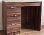Riano 3 Drawer Dressing Table Walnut Makeup Desk Wooden Bedroom Furniture