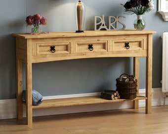 Corona Console Tables 1 2 3 Drawer Shelf Solid Pine Wood Hallway Furniture New