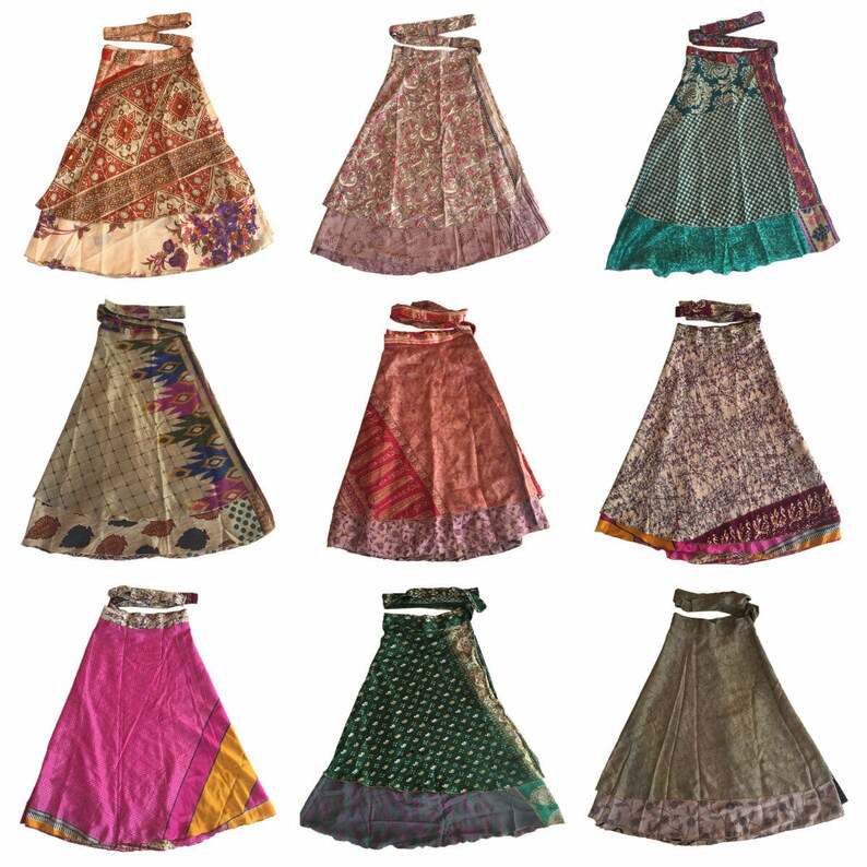 lot of Silk Saree Wrap Skirts for women skirt Wrap skirt Bohemian Skirt Double Layer Skirt Boho Dress Beach Dress 100 ways to wear reversabl