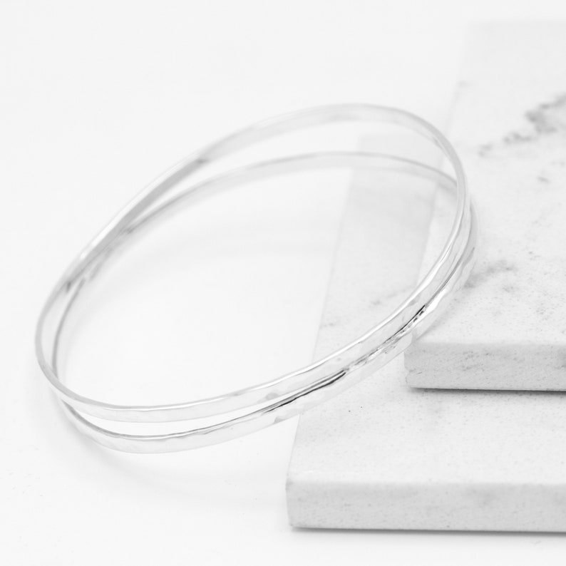 Everyday Bracelet Unisex Bracelet Hammered Silver Bangle Smooth Silver Bangle Double Bangle Sterling Silver Bangle