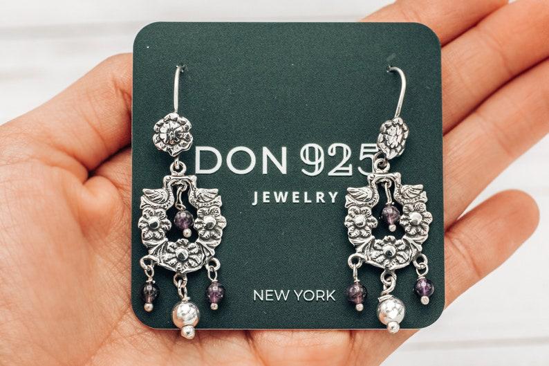 Bohemian Earrings Bird Earrings Aesthetic Earrings Mexican Jewelry Frida Kahlo Earrings Flower Jewelry Sterling Silver 925 /& Amethyst