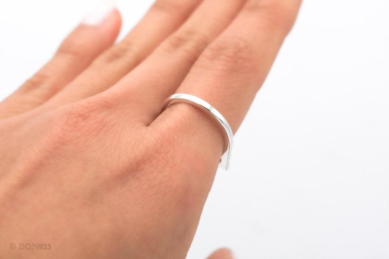 Horizontal Bar Ring Silver Band Geometric Jewelry Thin Silver Ring Dainty Sterling Silver Ring Minimalist Ring Stacking Ring