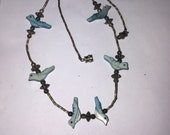 Vintage Southwestern Birds Fetish Necklace - carved - mother of pearl - choker - mop - jewelry
