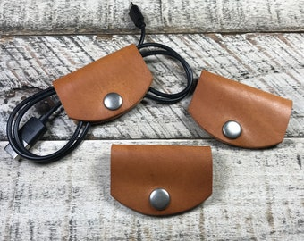 Leather Cord Taco-Teal Leather Phone Charger Holder-Leather Cord Organizer-Leather Earbud Case-Horween Leather Cord Taco-Stocking Stuffer
