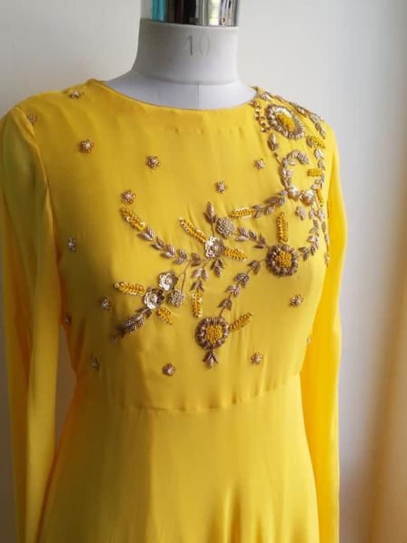 Beautiful Hand Embroidered Yellow Long Kurti  Pakistani Dress  Traditional Wedding Wear  Indian Dress  Handmade  Bridesmaid Collection