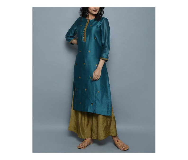 Pakistani Electric Blue  Hand Embroidered Kurta with Mehendi Green PLazzo Pants  Ethnic Indian Wear  Fully Customizable  New Year Dress