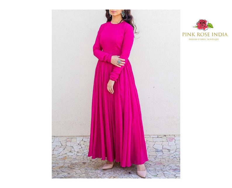 Beautiful Pink Long Kurti with Long Sleeves  Traditional Occasional Dress  Trending Summer Indian Dress  Pakistani Dress  New Arrival