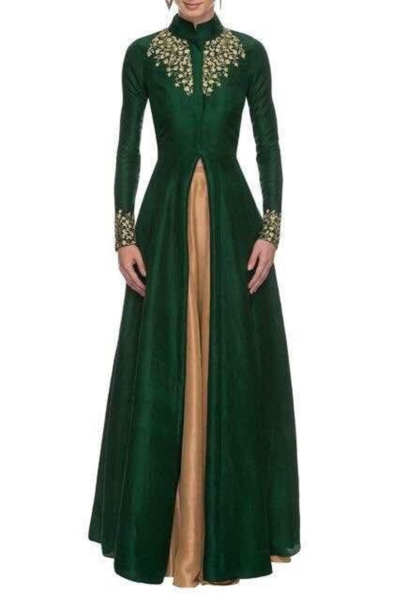 Exclusive Indian Traditional Hand Embroidered Long Green Gown  Pakistani Dress  Indian Dress  Bollywood Dress  Trending Ethnic Wear