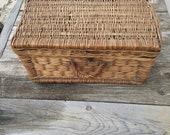 Vintage Wicker Chest - Wicker steamer trunk - Antique Chest - Rectangular Wicker Suitcase - Wedding chest- Train Case