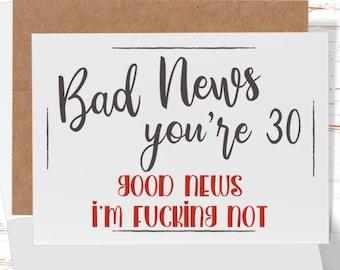 30th Birthday Card, Funny Birthday Card, Sarcastic 30th Birthday Card for her or  him
