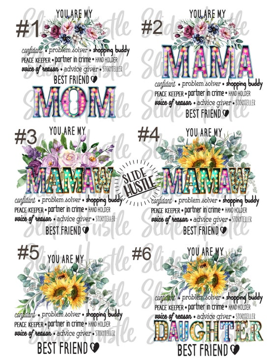 Mommy Waterslides Mom Popular Laser Printed Popular Mommy Mom Group Dropout Waterslide for Tumblers Mom Funny Waterslide