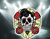 dead elvis sugar skull sticker dia de las muertos lap top sticker water bottle sticker