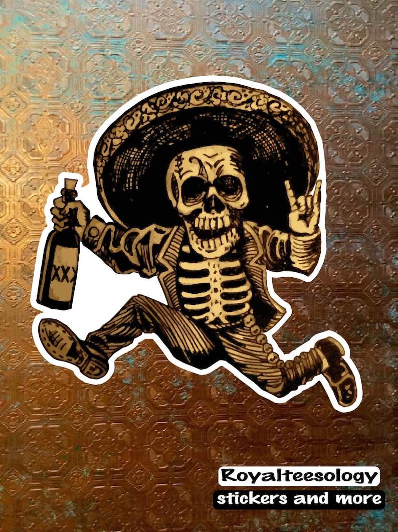 Day of dead running man Sugar Skull decal sombrero skull image 0