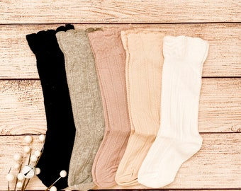 Ruffle Top Knee Highs - Baby Knee Highs - Toddler Knee High Socks - Baby Socks - Fall Baby Clothes - Knee Highs - Baby Stockings