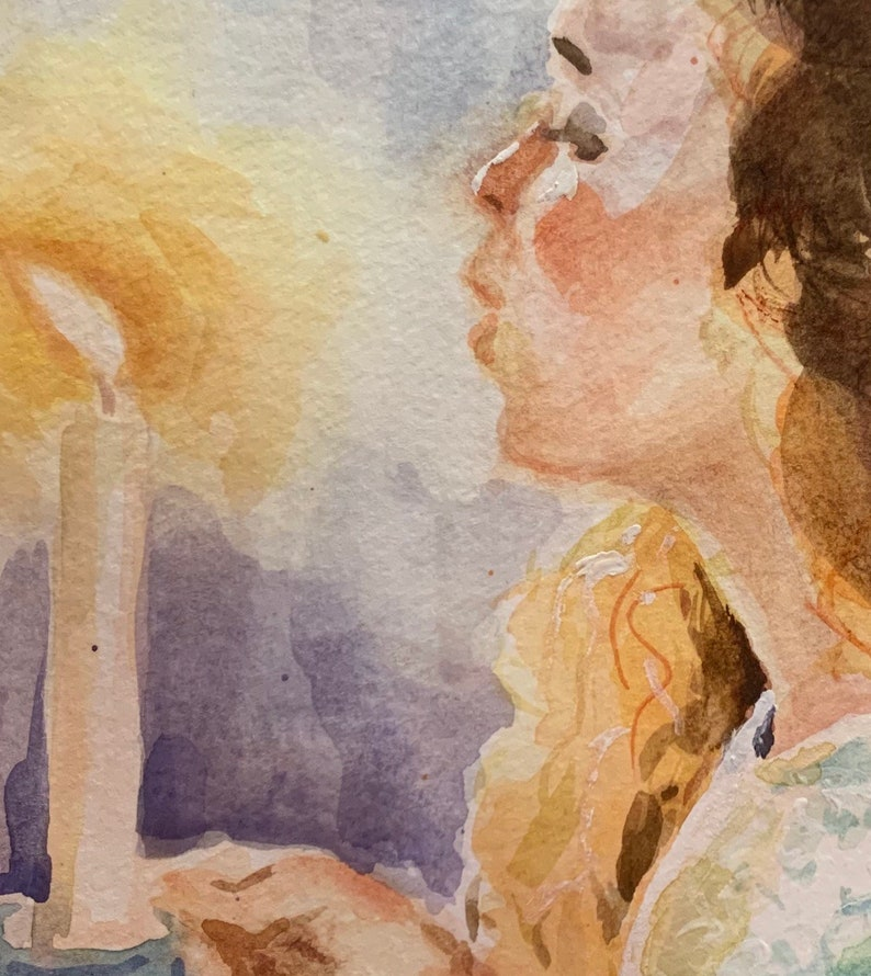 Girl with a candle Watercolor original 6x6\u201d