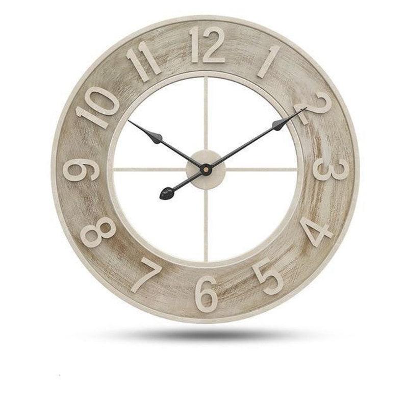 Horloge murale en bois moderne et minimaliste - Style de lavage blanc -24po Diamètre