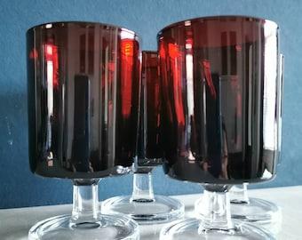 Vintage red liquor glasses set of 4