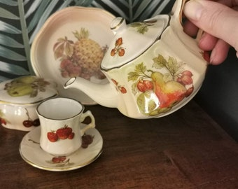 Vintage Royal Worcester Palissy Miniature Tea Set
